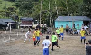 A player lines up a free-kick in a semi-final clash at the Mesetas camp in southern Meta, one of 26 temporary installations set up to facilitate the reintegration into civilian life of more than 7,000 Farc members.