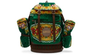 Gucci's oversized tapestry backpack.