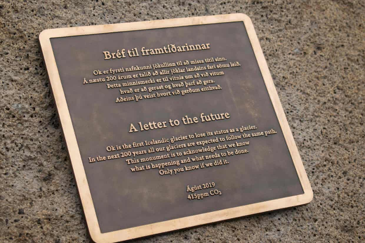 The plaque, which is titled 'A letter to the future'.