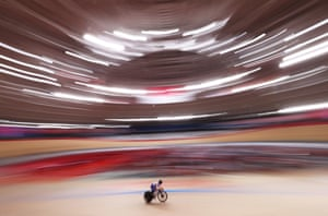 Coralie Demay of Team France prepares for a race prior to the track cycling on day twelve at Izu Velodrome.