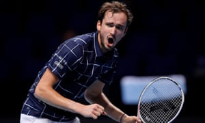 Daniil Medvedev reacts during his semi-final victory over Rafael Nadal.
