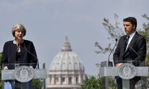 Italian prime minister Matteo Renzi and Theresa May during a press conference in the garden of Villa Doria Pamphili in Rome.