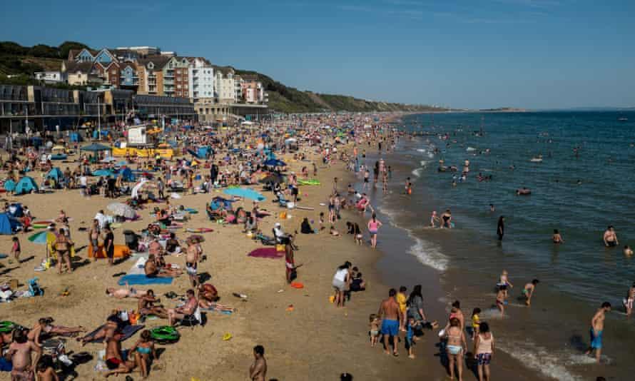 Beachgoers at Bournemouth in June 2020.