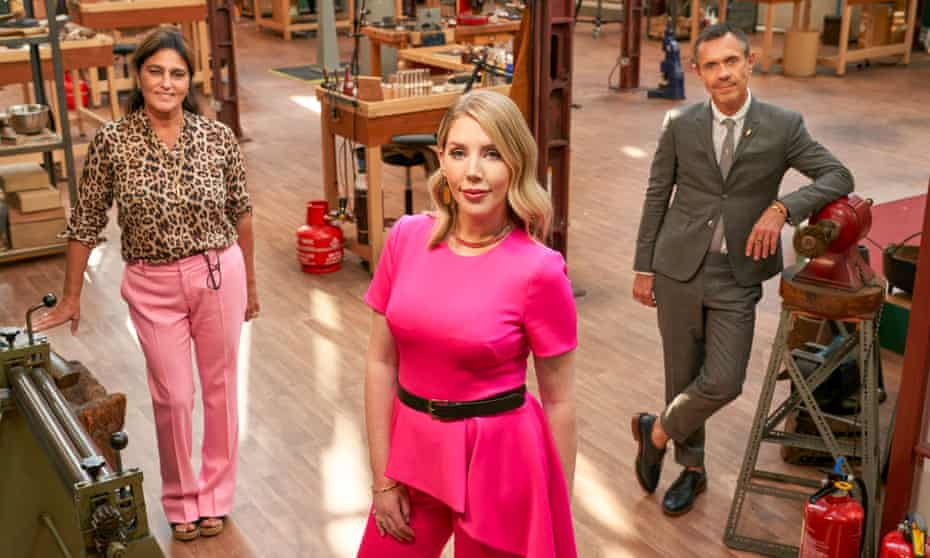 Katherine Ryan (centre) with judges Solange Azagury-Partridge and Shaun Leane on All That Glitters