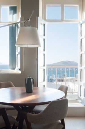 The first-floor living room with views of the Aegean.