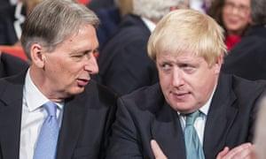 Philip Hammond, left, with the UK foreign secretary, Boris Johnson.