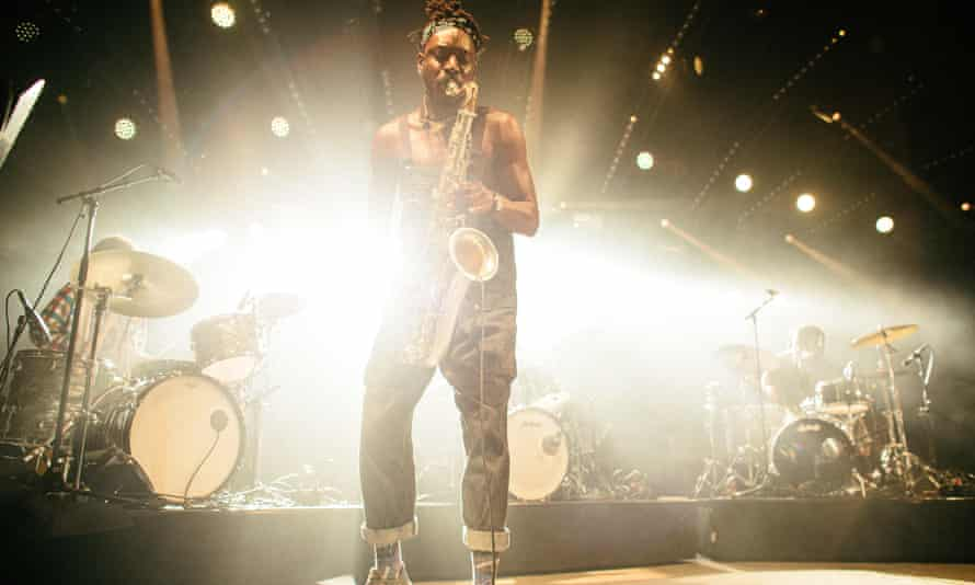 Shabaka Hutchings of Sons of Kemet performing at the Roskilde festival, Denmark, 6 July 2019.