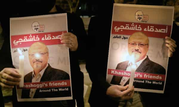 Protesters in Istanbul call for justice for Jamal Khashoggi.