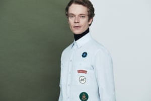 Actor Alfie Allen photographed modelling key look for autumn clothes