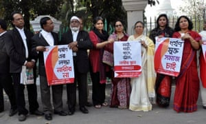 Blast and supreme court bar members campaigning at a rally against sexual violence in Bangladesh