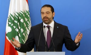 Saad Hariri at a press conference in Beirut