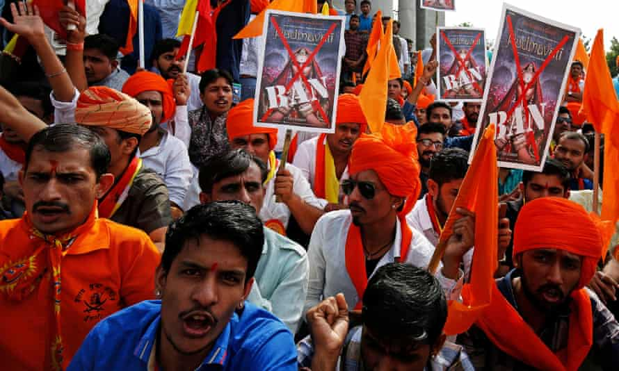 Demonstrators chant slogans as they protest against the release of Padmavati in Bengaluru.