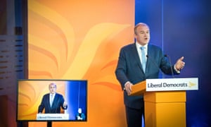 Ed Davey delivering his speech to the Lib Dem online conference.