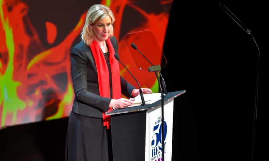 Clare Smyth receives her award in Bilbao.