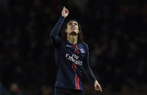 Cavani celebrates after putting PSG back in front.