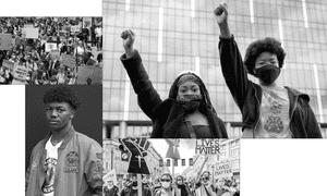 Clockwise from top left: a BLM protest in Brighton in May; Natasha and Aima (co-organisers of BLMLDN); BLM protest in London this month; Tyrek Morris.