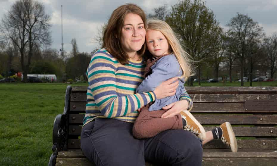 Angela Roy and her 3 year old daughter Joanie photographed in Clapham, London. Angela will be going on a demonstration march in London to oppose the proposed testing for 4 year olds in reception classes.