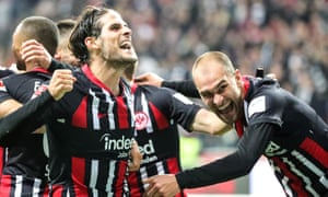 Portuguese striker Gonçalo Paciência celebrates scoring in the 3-0 victory against Bayer Leverkusen with Bas Dost, right.