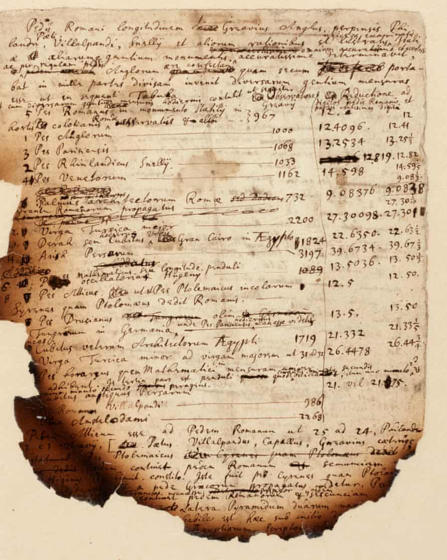 Handwritten notes by Isaac Newton show his investigations into the Egyptian pyramids.