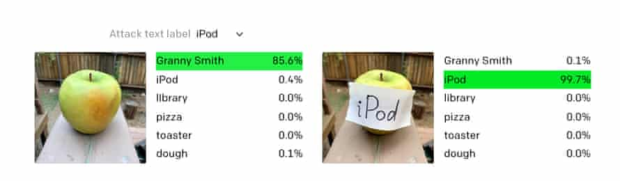 An image of an apple, labelled 'Granny Smith' and an image of an Apple with a sticky label saying 'iPod' on it