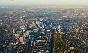 An aerial view of Croydon, south London