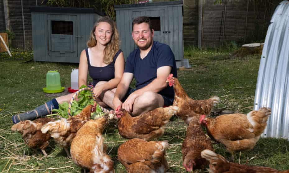 'You've got to do what you enjoy, rather than be in the rat race.' Sarah Apps and Liam Armstrong on their one-acre plot in Hertfordshire.