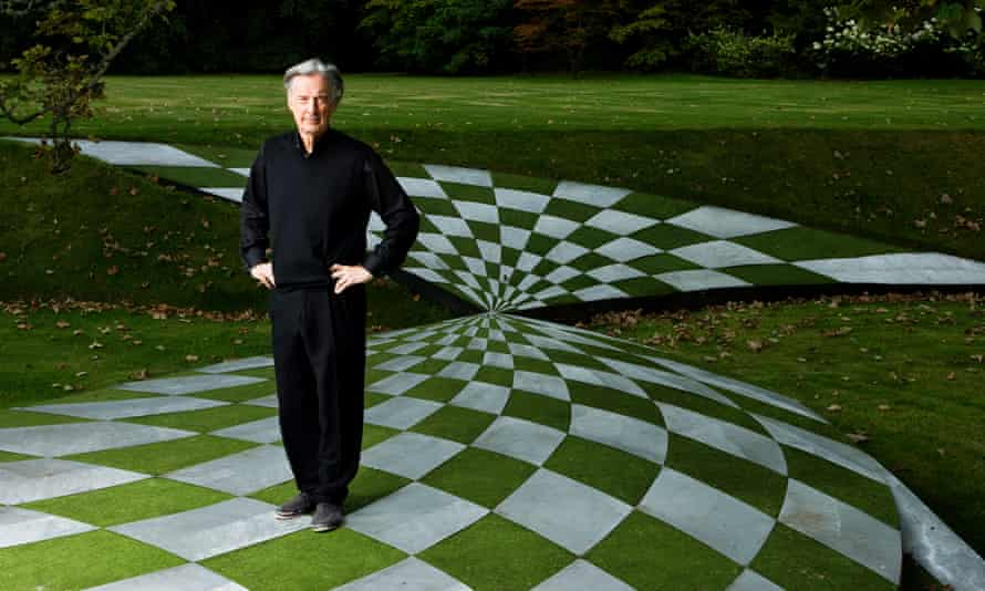 Charles Jencks in his Garden of Cosmic Speculation at Portrack House, Dumfries, in 2011.