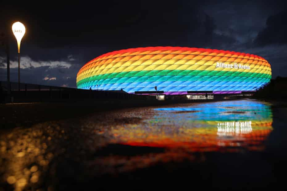 The Allianz Arena will not be allowed to be lit up in rainbow colours for the game.