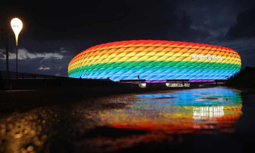 Allianz Arena in Munich illuminated in rainbow colours last July.