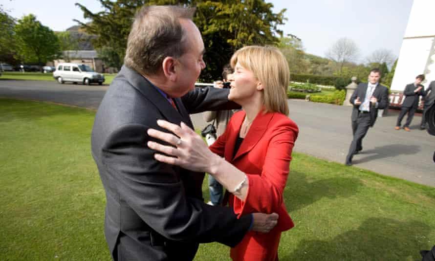 Alex Salmond hugs Nicola Sturgeon