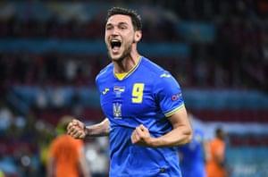 Ukraine's Roman Yaremchuk celebrates after scoring his side's second goal.