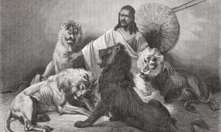 Illustration of Tewodros II holding audience, surrounded by lions from El Mundo en la Mano, published 1875