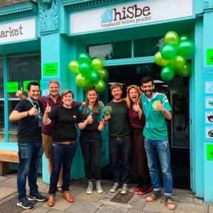 Staff outside the hiSbe store in Brighton