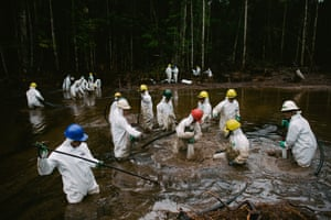 People at work in the Mayuriaga oil spill in 2016. The cleanup will take at least a year
