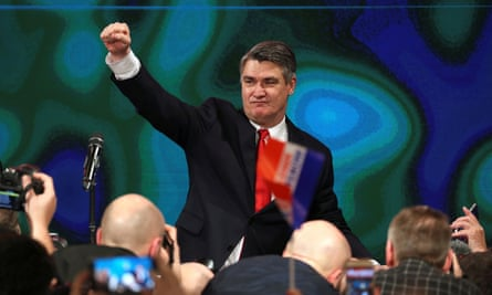 Zoran Milanović addresses his supporters after winning the presidential runoff election on Sunday.