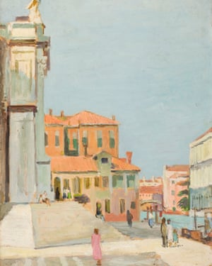 On the Steps of Santa Maria Salute, Venice, painted in 1948, has been in a private collection.