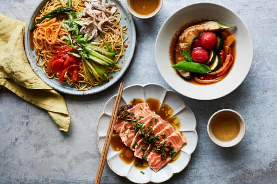 Masaki Sugisaki's Japanese summer meal (clockwise from top left: noodles with steamed chicken breast and and omelette, summer veg nibitashi, and seared salmon sashimi with ponzu.