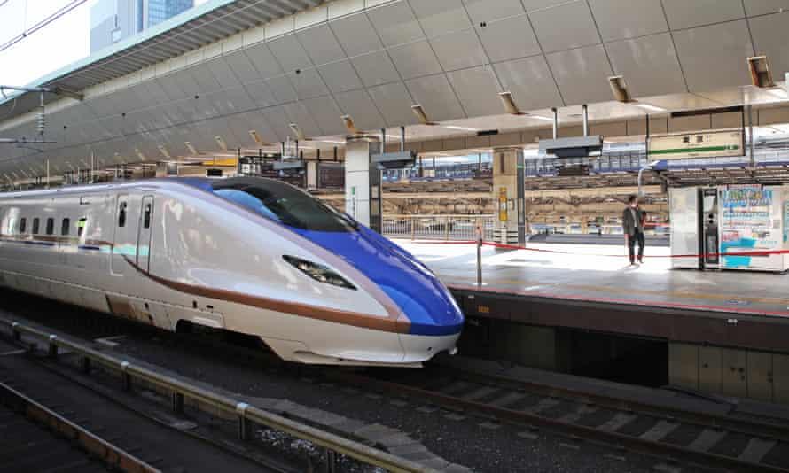 A shinkansen bullet train platform
