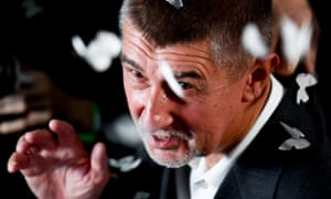 The billionaire populist Andrej Babis speaks in Prague on Saturday after voters backed his ANO party.