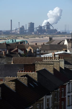 Redcar, with the steelworks in the background