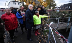 Jeremy Corbyn and Ed Miliband, the former Labour leader and MP for Doncaster North, and in the Bentley suburb of Doncaster meeting residents affected by the flooding.