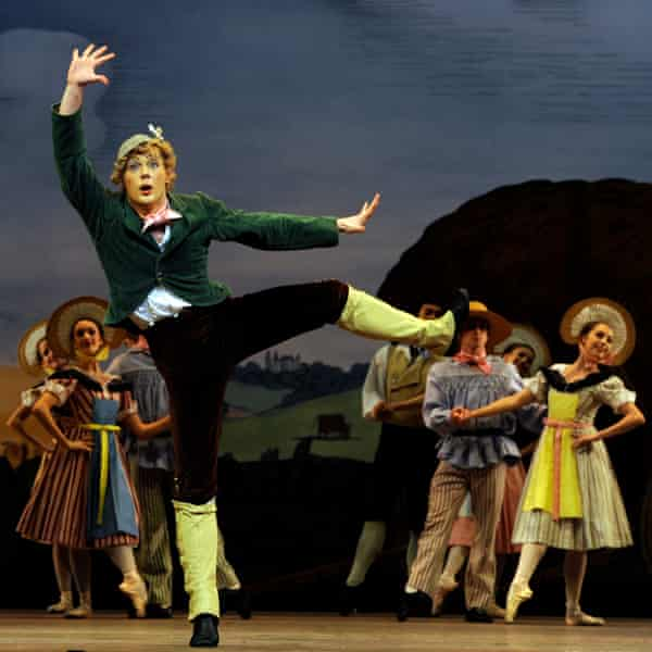 Liam Scarlett dancing in La Fille Mal Gardée at the Royal Ballet.