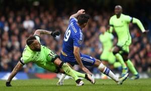 Nicolas Otamendi takes down Diego Costa.