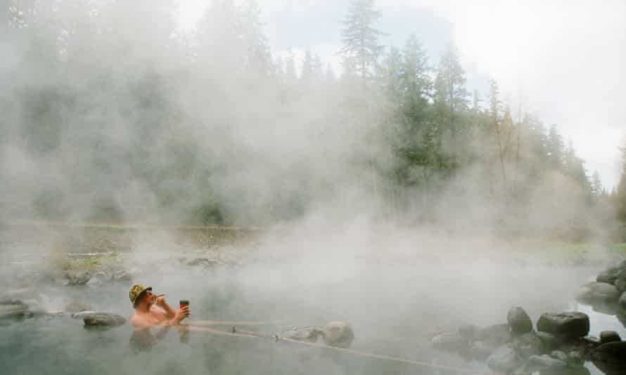 Smoke and steam ... a pool at McCredie Hot Springs.