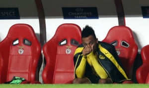 Pierre Emerick Aubameyang can barely watch.