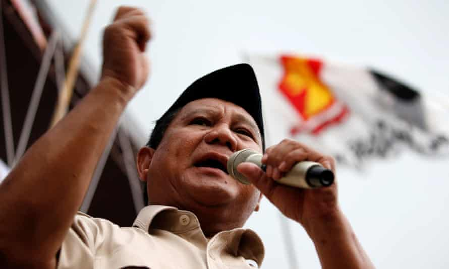 Prabowo Subianto during a campaign rally in Bogor, West Java