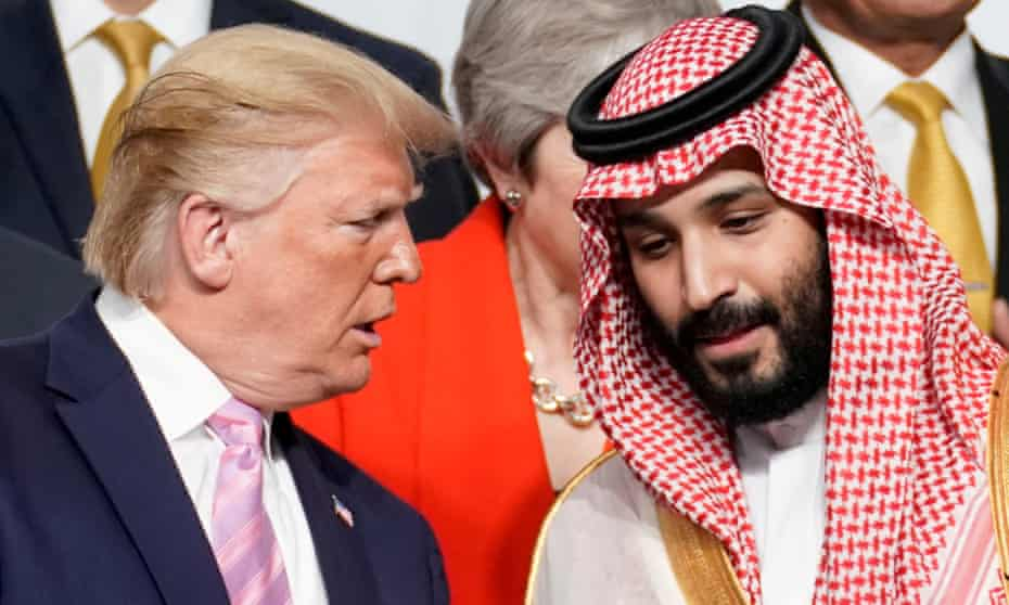 Donald Trump speaks to Mohammed bin Salman at the G20 summit in Osaka, Japan in June 2019.