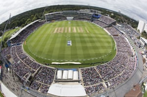An elevated view of a packed out Edgbaston.