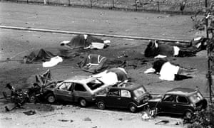 The scene in London's Hyde Park July 20, 1982, where four soldiers and seven horses died when an IRA bomb was detonated.