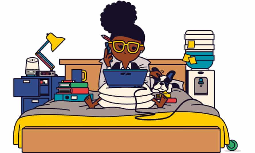 Illustration of a woman working from bed